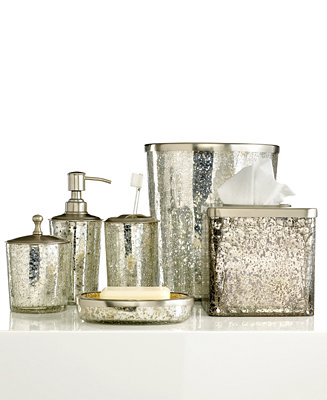 Paradigm bath accessories crackle glass ice collection for Crackle glass bathroom set