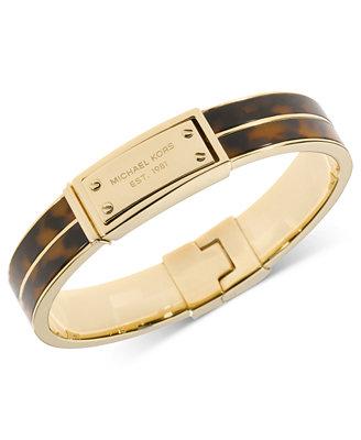 michael kors gold tone tortoise logo plate hinged bracelet