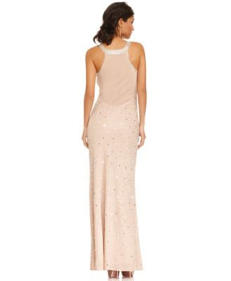 Adrianna Papell Dress Sleeveless Beaded Gown