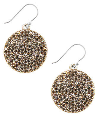 Lucky brand earrings gold tone pave disk earrings for Macy s lucky brand jewelry