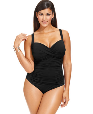 La Blanca Plus Size Ruched One Piece Swimsuit