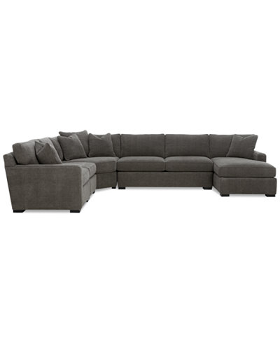 Radley 5 piece fabric chaise sectional sofa furniture for 5 piece sectional sofa with chaise