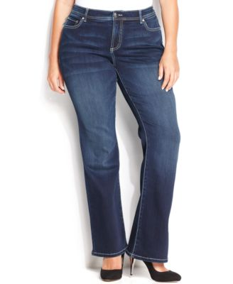 INC International Concepts Plus Size Tummy-Control Spirit Wash Bootcut Jeans, Only at Macy's