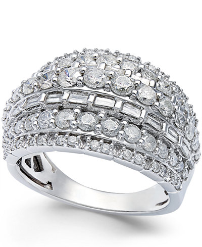 diamond multi row ring in sterling silver 2 ct t w. Black Bedroom Furniture Sets. Home Design Ideas