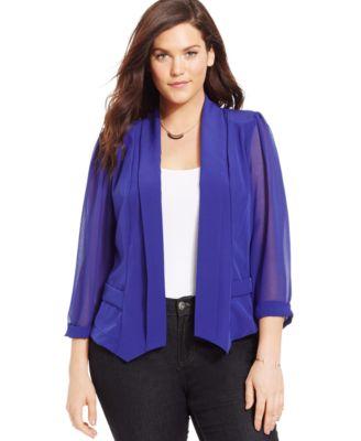 City Chic Plus Size Chiffon-Sleeve Blazer