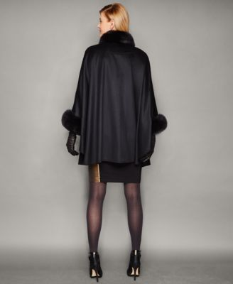 The Fur Vault Fox-Fur-Trim Cashmere Cape