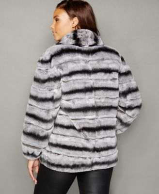 The Fur Vault Plus Size Rabbit Fur Bomber Jacket