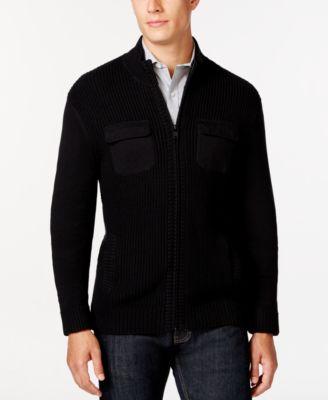 Alfani Mens Big and Tall Damon Texture Full-Zip Mock-Neck Sweater