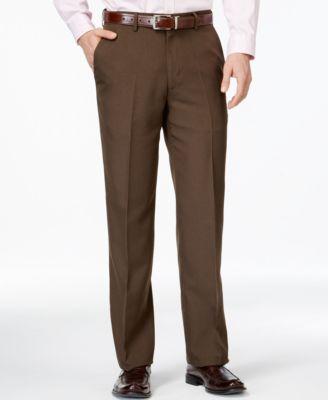 Haggar Classic-Fit Eclo Chocolate Tonal Tic Weave Dress Pants