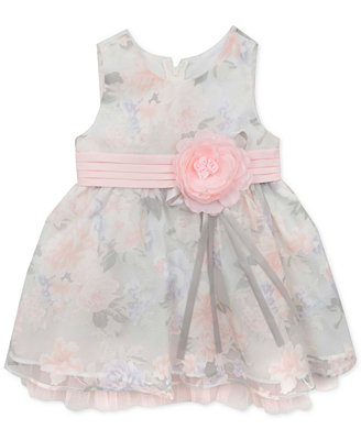 Rare Editions Baby Girls Gray and Pink Dress Dresses