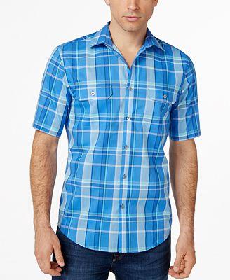 Alfani Big And Tall Short Sleeve Plaid Shirt Only At Macy
