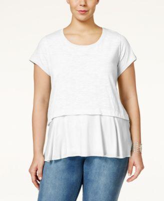 Style & Co. Plus Size Short-Sleeve Flounce-Hem Top