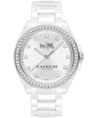 COACH WOMEN'S TRISTEN WHITE CERAMIC BRACELET WATCH 36MM 14502499