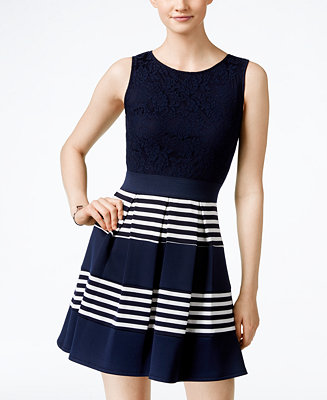 Speechless Juniors Lace Striped Fit Amp Flare Dress