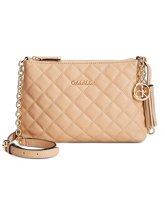 Calvin Klein Quilted Pebble Leather Tassel Crossbody