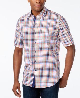 Tasso Elba Mens Fancy Check Short-Sleeve Shirt