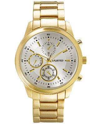 unlisted s chronograph gold tone bracelet 45mm