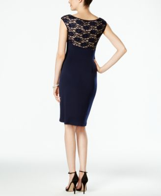 Connected Sequined Lace Faux-Wrap Cocktail Dress