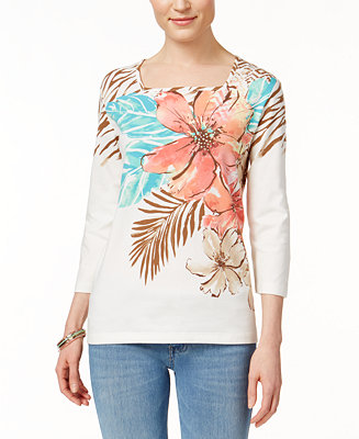 Alfred dunner floral print three quarter sleeve top tops for Alfred dunner wedding dresses