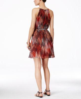 Thalia Sodi Printed Halter Chain-Neck A-Line Dress