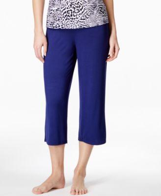 Alfani Satin-Waist Trim Cropped Pajama..
