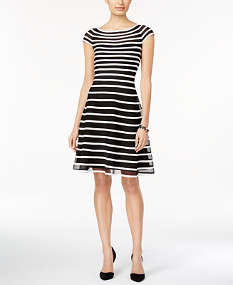 Betsy Amp Adam Cap Sleeve Striped Fit Amp Flare Dress