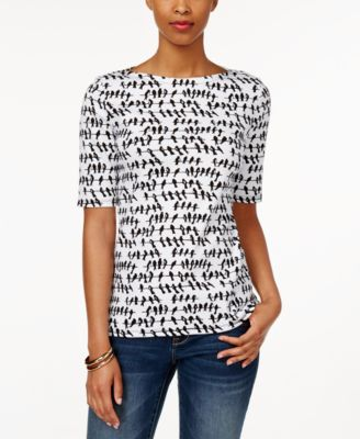 Charter Club Printed Elbow-Sleeve Top