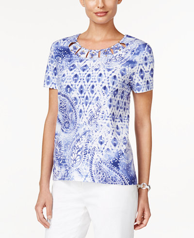 Alfred dunner cyprus collection paisley print beaded top for Alfred dunner wedding dresses
