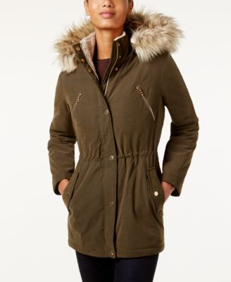 Nautica Faux-Fur-Trim Hooded Parka
