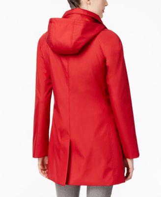 Calvin Klein Asymmetric-Zip Hooded Water Resistant Walker Raincoat