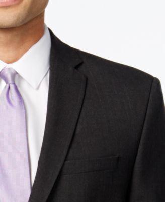 Marc New York by Andrew Marc Mens Slim-Fit Black Plaid Suit