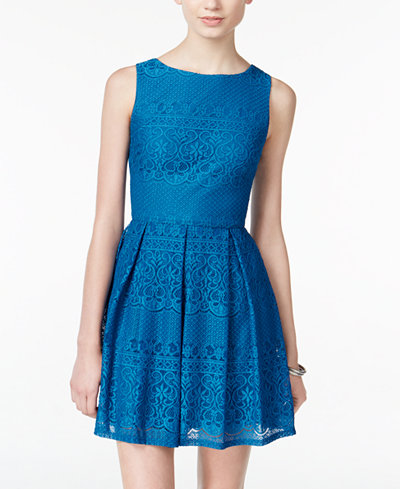 B Darlin Juniors Pleated Lace Fit Amp Flare Dress Juniors