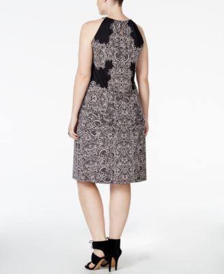 INC International Concepts Plus Size Lace-Print Fit & Flare Halter Dress