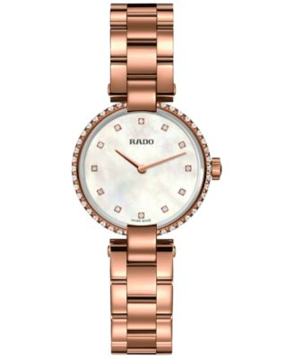 Rado Womens Swiss Coupole Diamond Accent Rose Gold-Tone PVD Stainless Steel Bracelet Watch 29mm R22859924
