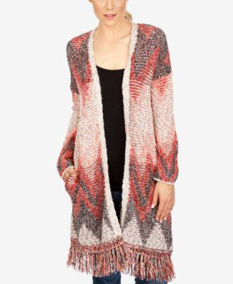 Lucky Brand Printed Fringe Long Cardigan