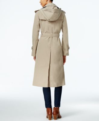 London Fog Petite Hooded Double-Breast..