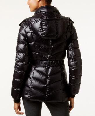 Calvin Klein Hooded Cinched-Waist Down Puffer Coat