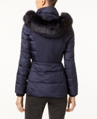 Jones New York Faux-Fur-Trim Hooded Qu..
