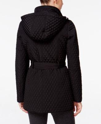 Calvin Klein Hooded Belted Quilted Coat