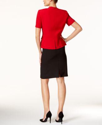 Tahari ASL Petite Zip Front Colorblocked Skirt Suit