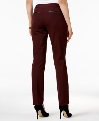 Alfani Petite Faux-Leather-Detail Pants