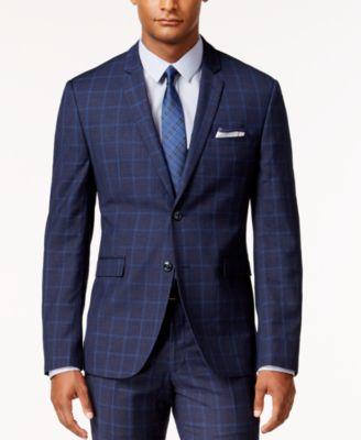 Perry Ellis Portfolio Mens Extra Slim-Fit Blue Windowpane Suit