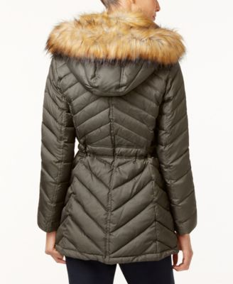 Laundry by Shelli Segal Faux-Fur-Trim Hooded Down Puffer Coat Image