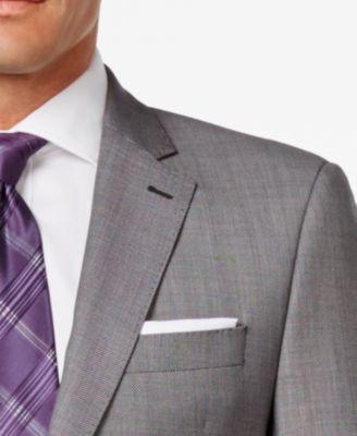Lauren Ralph Lauren Mens Slim-Fit Black and White Birdseye Suit