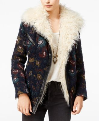 Free People Faux-Fur-Trim Printed Jacquard Coat Image