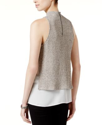 Bar III Layered-Look Mock-Neck Top