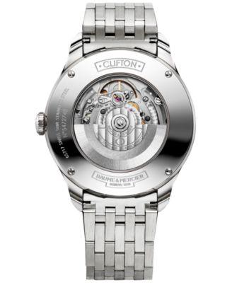 Baume & Mercier Mens Swiss Automatic Clifton Stainless Steel Bracelet Watch 41mm M0A10099