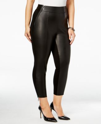 Melissa McCarthy Seven7 Trendy Plus Size Mixed-Media Leggings