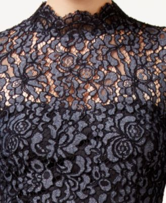 Betsey Johnson Lace Mock-Neck Sheath D..