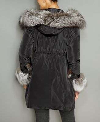 The Fur Vault Fox-Fur-Trim Hooded Down..